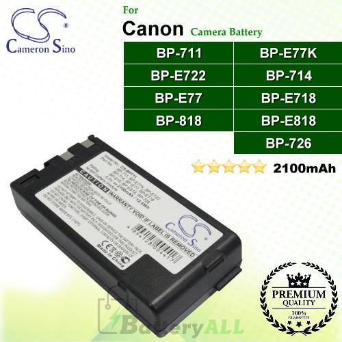 CS-BP711 For Canon Camera Battery Model BP-711 / BP-714 / BP-726 / BP-818 / BP-E718 / BP-E722 / BP-E77 / BP-E77K / BP-E818