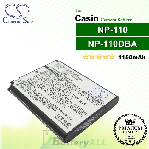 CS-NP110CA For Casio Camera Battery Model NP-110 / NP-110DBA / NP-110L