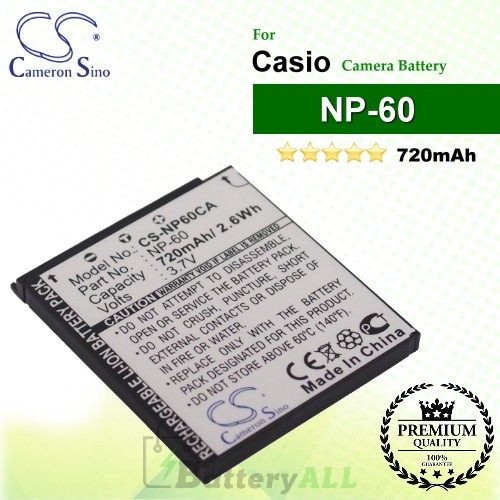 CS-NP60CA For Casio Camera Battery Model NP-60