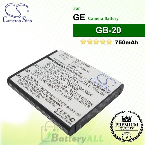 CS-GB20MC For GE Camera Battery Model GB-20
