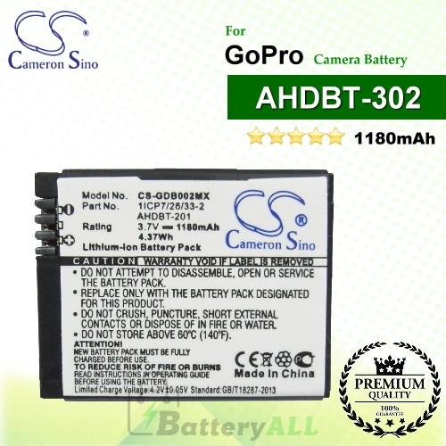 CS-GDB002MX For GoPro Camera Battery Model 1ICP7/26/33-2 / 601-00724-00A / AHDBT-201 / AHDBT-301 / AHDBT-302