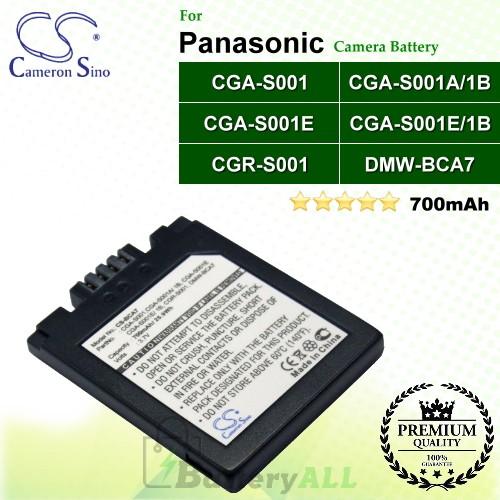 CS-BCA7 For Panasonic Camera Battery Model CGA-S001 / CGA-S001A/1B / CGA-S001E / CGA-S001E/1B / CGR-S001 / DMW-BCA7