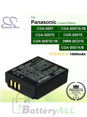 CS-BCD10 For Panasonic Camera Battery Model CGA-S007 / CGA-S007A/1B / CGA-S007A/B / CGA-S007E / CGR-S007E / CGR-S007E/1B / DMW-BCD10