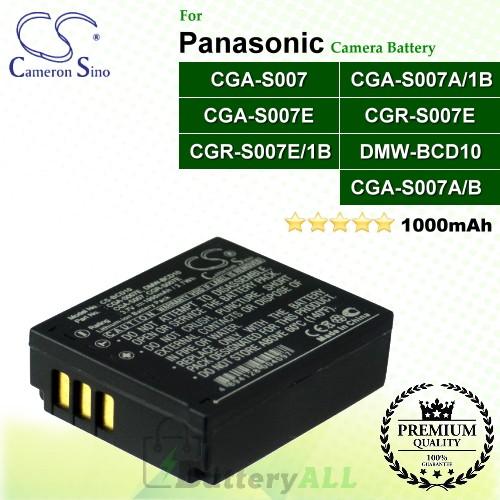 CS-BCD10 For Panasonic Camera Battery Model CGA-S007 / CGA-S007A/1B / CGA-S007A/B / CGA-S007E / CGR-S007E / CGR-S007E/1B / DMW-BCD10