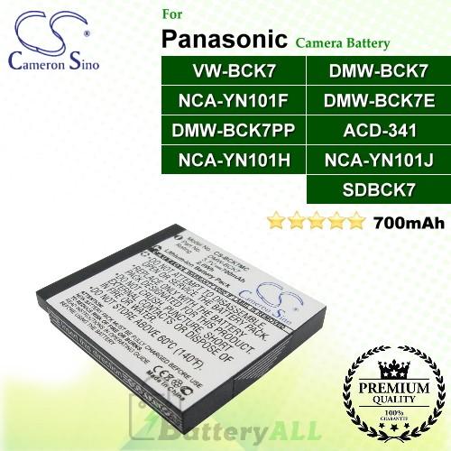 CS-BCK7MC For Panasonic Camera Battery Model ACD-341 / DMW-BCK7 / DMW-BCK7E / DMW-BCK7PP / NCA-YN101F / NCA-YN101H / NCA-YN101J / SDBCK7 / VW-BCK7