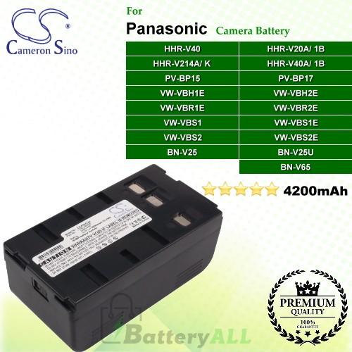 CS-PDHV40 For Panasonic Camera Battery Model HHR-V20A/1B / HHR-V214A/K / HHR-V40 / HHR-V40A/1B / PV-BP15 / PV-BP17 / VW-VBH1E / VW-VBH2E / VW-VBR1E / VW-VBR2E / VW-VBS1 / VW-VBS1E / VW-VBS2 / VW-VBS2E