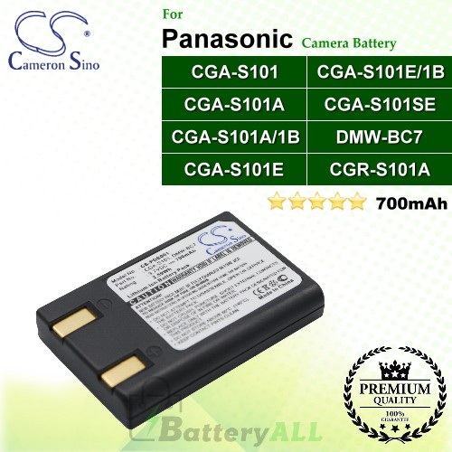 CS-PDS001 For Panasonic Camera Battery Model CGA-S101 / CGA-S101A / CGA-S101A/1B / CGA-S101E / CGA-S101E/1B / CGA-S101SE / CGR-S101A / DMW-BC7