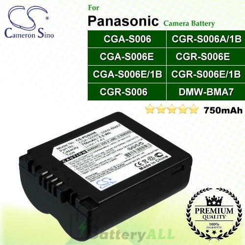 CS-PDS006 For Panasonic Camera Battery Model BP-DC5 J / BP-DC5 U / CGA-S006 / CGA-S006E / CGA-S006E/1B / CGR-S006 / CGR-S006A/1B / CGR-S006E / CGR-S006E/1B / DMW-BMA7