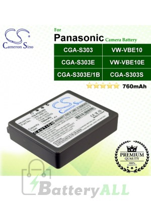 CS-PDS303 For Panasonic Camera Battery Model CGA-S303 / CGA-S303E / CGA-S303E/1B / VW-VBE10