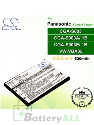 CS-VBA05 For Panasonic Camera Battery Model CGA-S003 / CGA-S003A/1B / CGA-S003E/1B / VW-VBA05