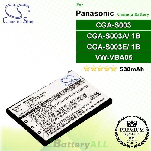CS-VBA05 For Panasonic Camera Battery Model CGA-S003 / CGA-S003A/1B / CGA-S003E/1B / VW-VBA05