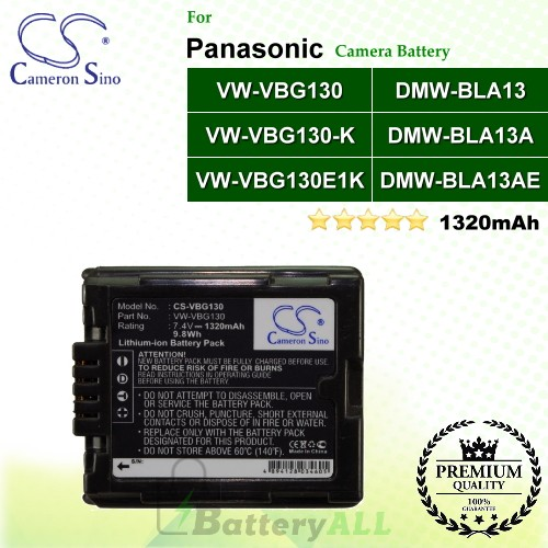 CS-VBG130 For Panasonic Camera Battery Model DMW-BLA13 / DMW-BLA13A / DMW-BLA13AE / VW-VBG130 / VW-VBG130-K