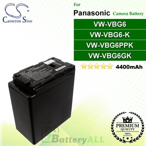 CS-VBG360 For Panasonic Camera Battery Model VW-VBG6 / VW-VBG6GK / VW-VBG6-K / VW-VBG6PPK