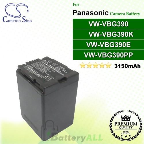 CS-VBG390 For Panasonic Camera Battery Model VW-VBG390 / VW-VBG390E / VW-VBG390K / VW-VBG390PP