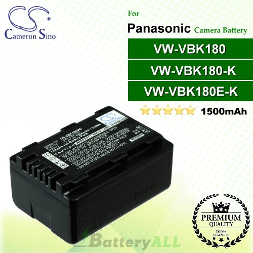 CS-VBK180MC For Panasonic Camera Battery Model VW-VBK180 / VW-VBK180E-K / VW-VBK180-K