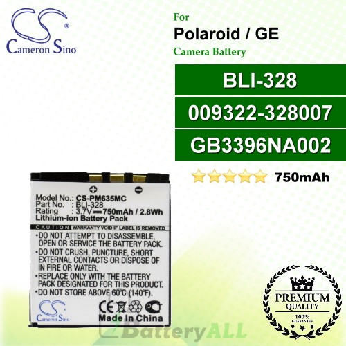 CS-PM635MC For Polaroid Camera Battery Model 009322-328007 / BLI-328 / GB3396NA002