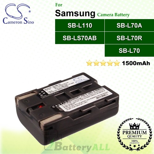 CS-SBL110 For Samsung Camera Battery Model SB-L110 / SB-L70 / SB-L70A / SB-L70R / SB-LS70AB
