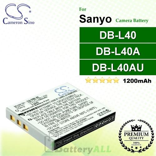 CS-DBL40 For Sanyo Camera Battery Model DB-L40 / DB-L40A / DB-L40AU