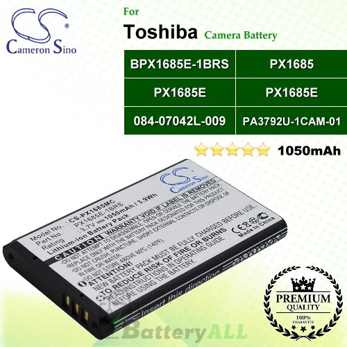 CS-PX1685MC For Toshiba Camera Battery Model 084-07042L-009 / 084-07042L-029 / PA3792U-1CAM-01 / PX1685 / PX1685E / PX1685E-1BRS