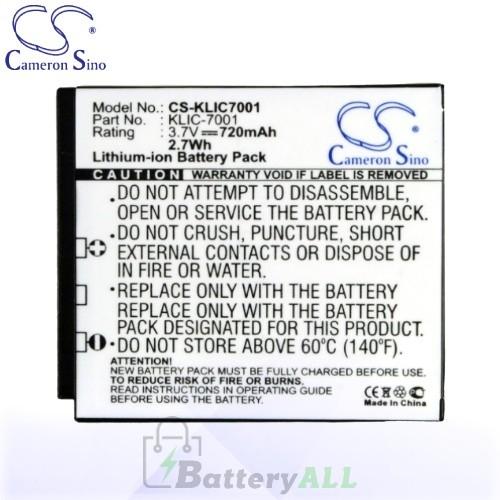 CS Battery for Kodak EasyShare M893 IS / M893IS / M1063 Battery 720mah CA-KLIC7001