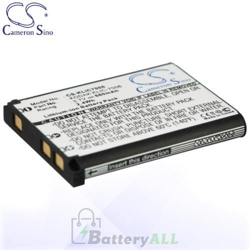 CS Battery for Kodak KLIC-7006 / LB-012 Battery 660mah CA-KLIC7006