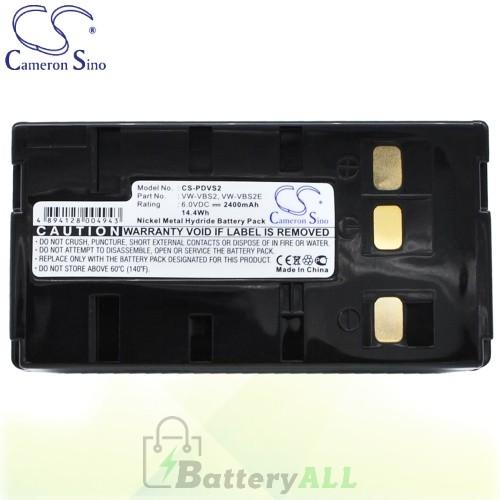 CS Battery for Panasonic PV-A206 / PV-A207 / PV-A286 / PV-S53 Battery 2400mah CA-PDVS2