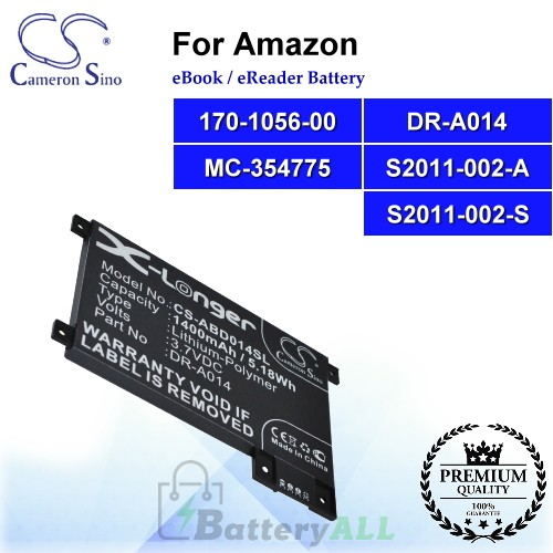 CS-ABD014SL For Amazon Ebook Battery Model 170-1056-00 / DR-A014 / MC-354775 / S2011-002-A / S2011-002-S