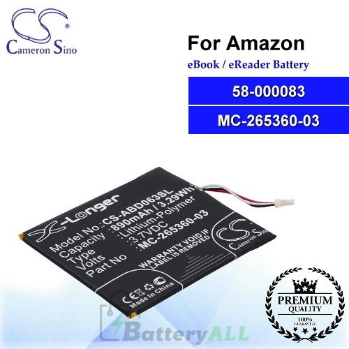 CS-ABD063SL For Amazon Ebook Battery Model 58-000083 / 58-000151 / MC-265360-03