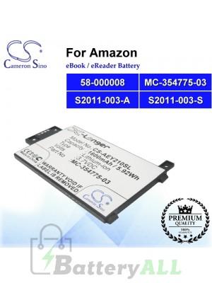 CS-AEY210SL For Amazon Ebook Battery Model 58-000008 / MC-354775-03 / S2011-003-A / S2011-003-S