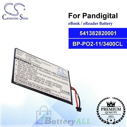 CS-PNR009SL For Pandigital Ebook Battery Model 541382820001 / BP-PO2-11/3400CL