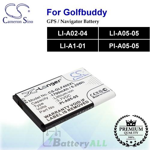 CS-GLF400XL For Golf Buddy GPS Battery Model LI-A02-04 / LI-A05-05 / LI-A1-01 / PI-A05-05