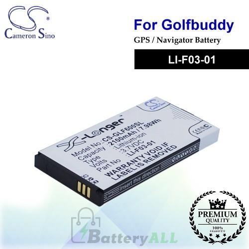 CS-GLF600SL For Golf Buddy GPS Battery Model LI-F03-01