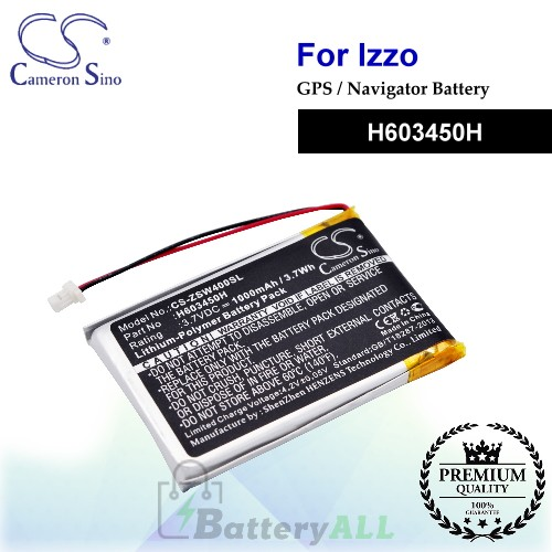 CS-ZSW400SL For IZZO GPS Battery Model H603450H