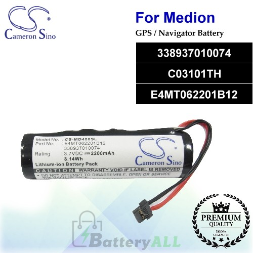 CS-MD400SL For Medion GPS Battery Model 338937010074 / C03101TH / E4MT062201B12