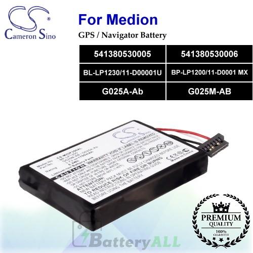 CS-MIOP350XL For Medion GPS Battery Model 541380530005 / 541380530006 / BL-LP1230/11-D00001U / BP-LP1200/11-D0001 MX / G025A-Ab / G025M-AB