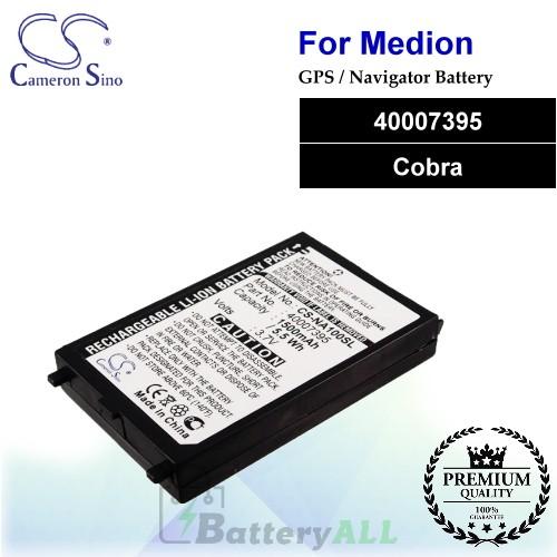 CS-NA100SL For Medion GPS Battery Model 40007395 / Cobra