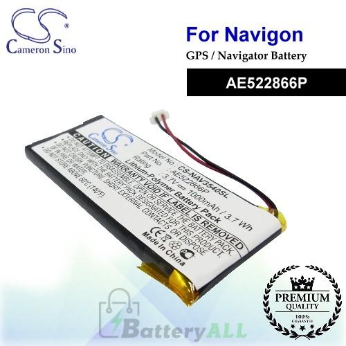 CS-NAV3540SL For Navigon GPS Battery Model AE522866P