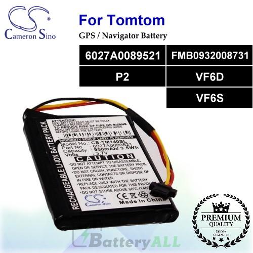 CS-TM140SL For TomTom GPS Battery Model 6027A0089521 / FMB0932008731 / P2 / VF6D / VF6S