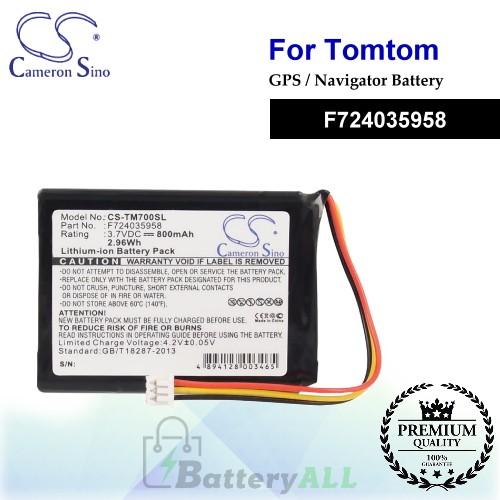 CS-TM700SL For TomTom GPS Battery Model F724035958