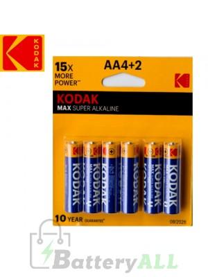 Kodak MAX Alkaline AA / R6P(UM-3) / IMPA 792403 / MN1500 1.5V Battery (4+2 pack)