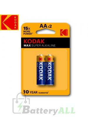 Kodak MAX Alkaline AA / R6P(UM-3) / IMPA 792403 / MN1500 1.5V Battery (2 pack)