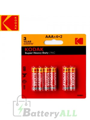 Kodak Zinc Super Heavy Duty AAA / R03(UM-4) / IMPA 792410 1.5V Battery (4+2 pack)