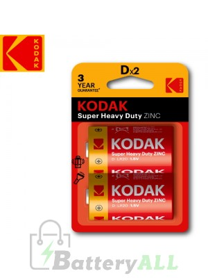 Kodak Zinc Super Heavy Duty D / R20P(UM-1) / IMPA 792401 1.5V Battery (2 pack)