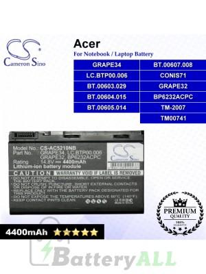 CS-AC5210NB For Acer Laptop Battery Model 23.TCZV1.004 / AK.008BT.054 / BT.00803.022 / BT.00804.019