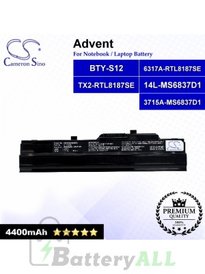CS-MSU100HB For Advent Laptop Battery Model 14L-MS6837D1 / 3715A-MS6837D1 / 6317A-RTL8187SE / BTY-S12 (Black)