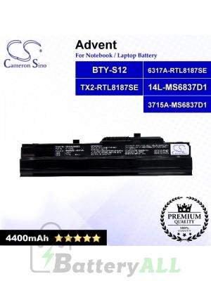 CS-MSU100HB For Advent Laptop Battery Model 14L-MS6837D1 / 3715A-MS6837D1 / 6317A-RTL8187SE / BTY-S12 (Black)