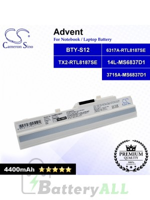 CS-MSU100HT For Advent Laptop Battery Model 14L-MS6837D1 / 3715A-MS6837D1 / 6317A-RTL8187SE / BTY-S12 (White)