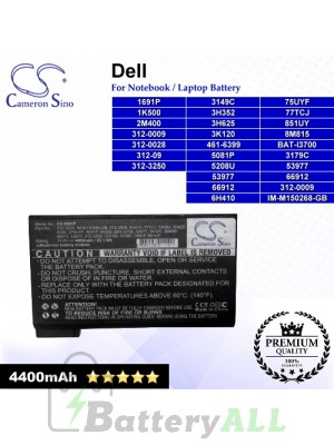 CS-5081P For Dell Laptop Battery Model 1691P / 1K500 / 2M400 / 312-0009 / 312-0028 / 312-09 / 312-3250 / 3149C