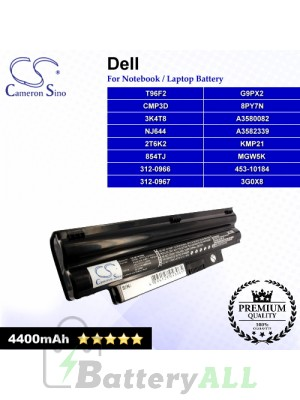 CS-DE1012NB For Dell Laptop Battery Model 2T6K2 / 312-0966 / 312-0967 / 3G0X8 / 3K4T8 / 453-10184 / 854TJ (Black)