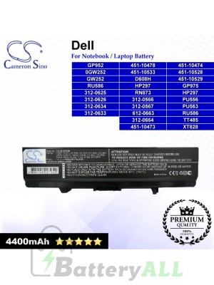 CS-DE1525NB For Dell Laptop Battery Model 0GW252 / 312-0566 / 312-0567 / 312-0625 / 312-0626 / 312-0633 / 312-0634